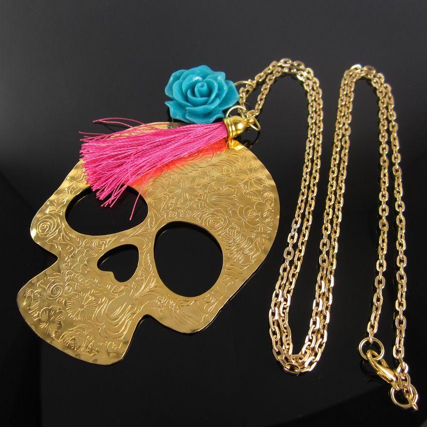 fd197e6a1da1 Collares Mujer Collar Cadena Baño oro Calavera Calaveras Mexicanas en  Bronce con Baño en Oro de 24K Finas Joyas Bisuteria Fina de Moda Tendencias  con Borlas ...