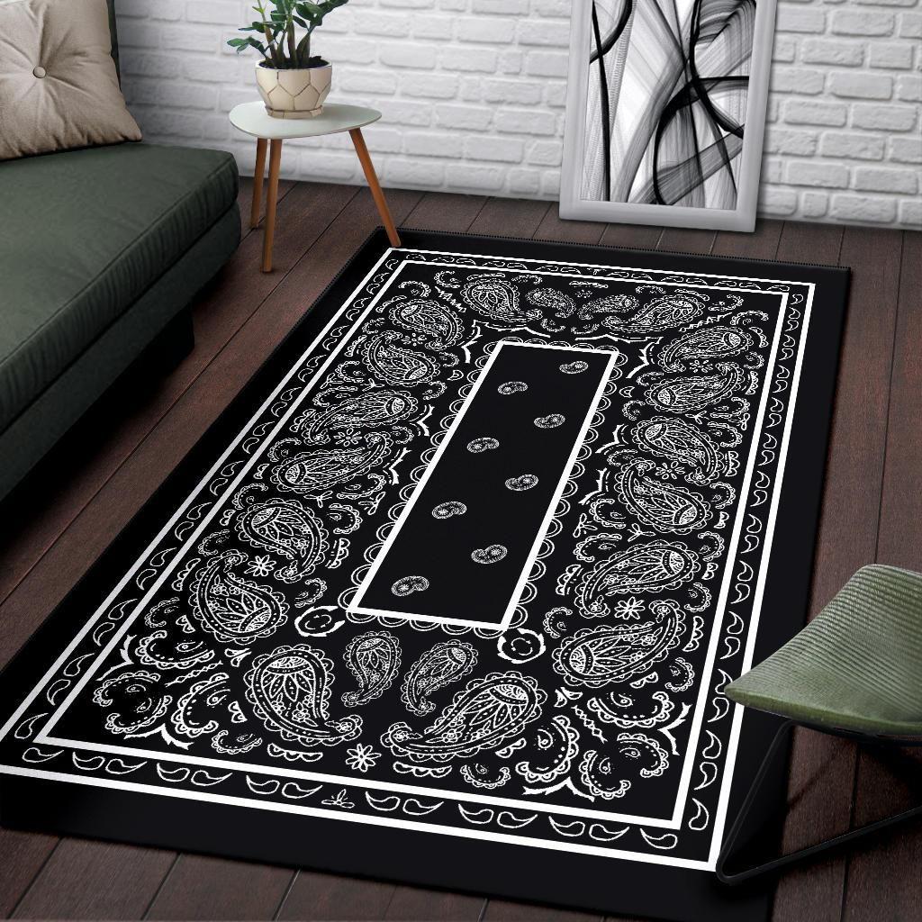 Black Bandana Blanket Cholo Lowrider Art Paisley Pattern Big Plush Throw Blanket