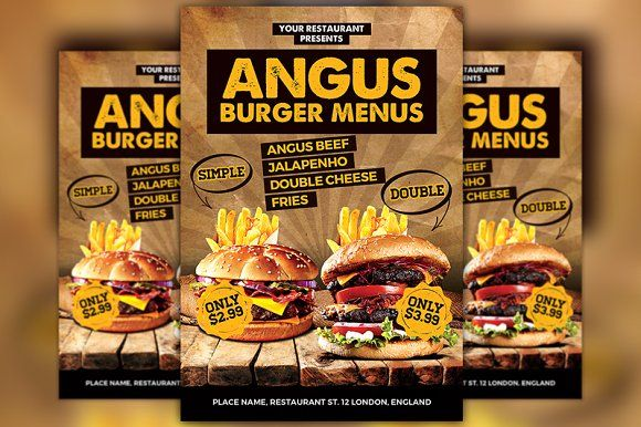 Burgers Offer Food Menu Flyer By Flyermind On Creativemarket