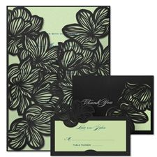 laser cut floral lace i - wedding invitations