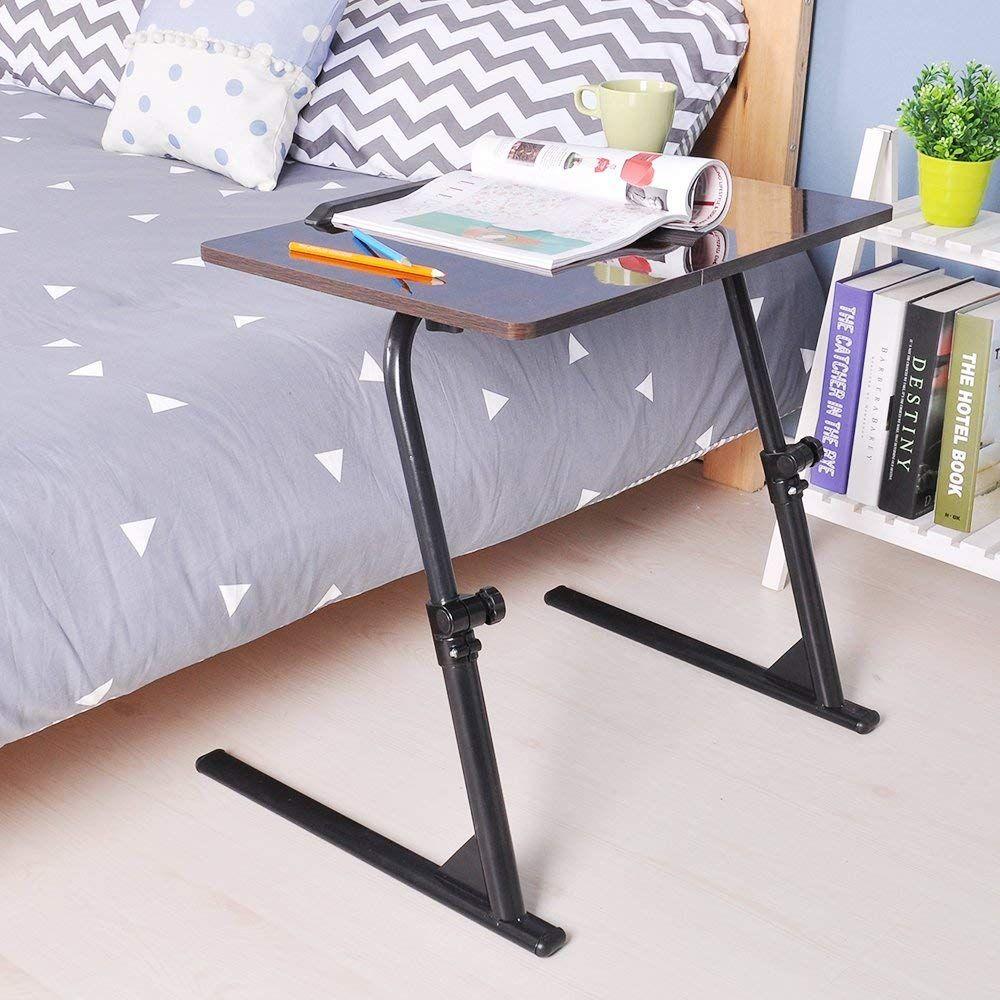 Dlandhome Laptop Stand Adjustable 31 5 Computer Standing Desk Side Table For Bed Sofa Hospital Rea Adjustable Side Table Portable Laptop Table Adjustable Desk