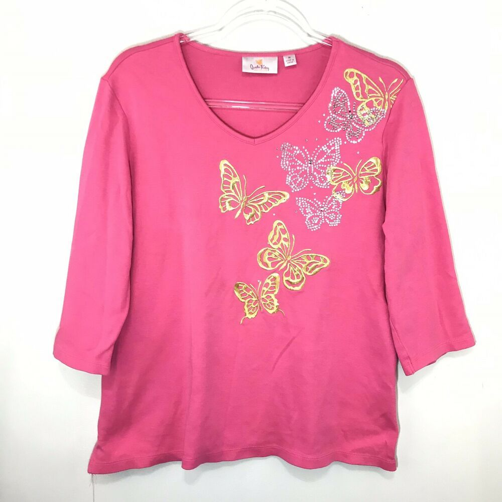 Quacker Factory Women Butterfly Shirt 3/4 Sleeve Embroidered Pink