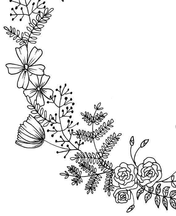 Blumenkranz Hand gezeichnet Kranz, Blumen & Blätter PNG ...