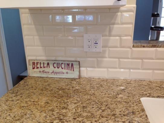 glossy beveled ceramic wall tile