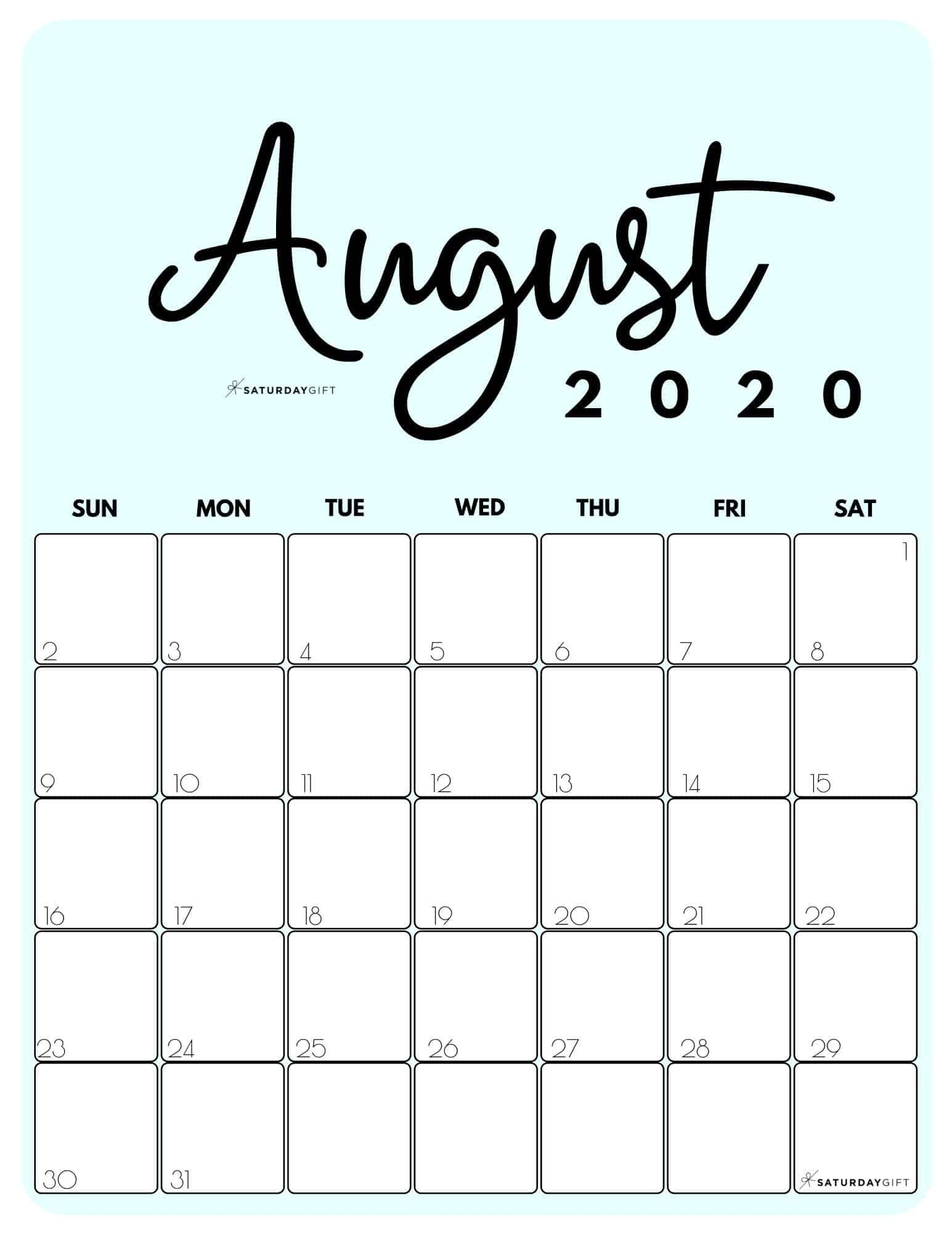 Cute (& Free!) Printable August 2020 Calendar | SaturdayGift in ...
