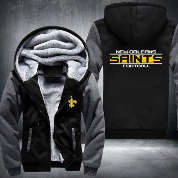 New Orleans SAINTS Fans Hoodie Fleece zip up Coat winter Jacket warm Sweatshirt