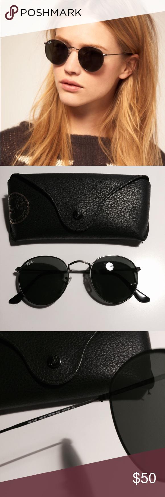 Ray ban black round metal sunglasses 3447 ray ban round metal unisex sunglasses 3447 perfect condition ray ban accessories sunglasses
