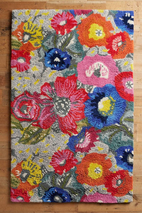 Anthropologie Poppy Patch Rug Anthropologie Colorful Rug Poppy Floral Spring Summer Floral Rug Rugs On Carpet Rugs