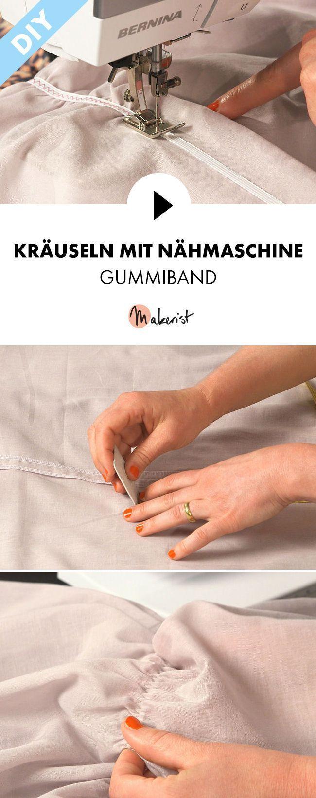 Nähschule: Gummiband kräuseln mit der Nähmaschine - Schritt für Schritt erklärt im Video-Kurs via Magerst.de #tutorielsdecouture