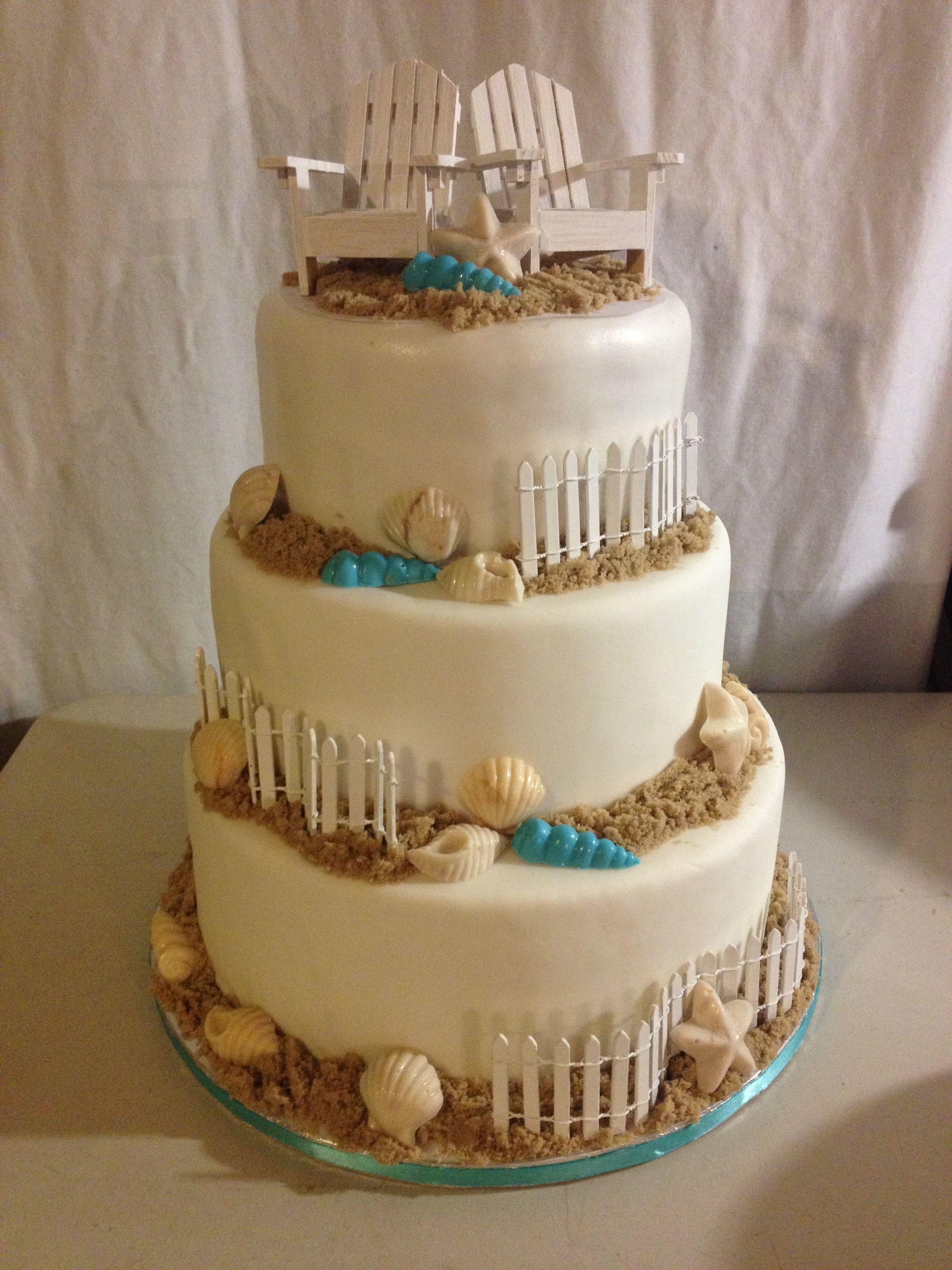 Beach wedding cake Beach cakes, Wedding cakes, Cake