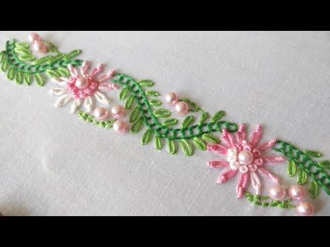 Simple Floral Border Design (Hand Embroidery Work)