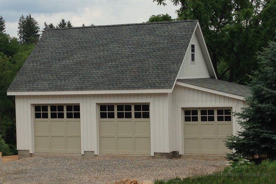 E100 15124 24x26 Two Car Garage With Lean To In Far Hills Njpaint White Doors Custom Roof Charcoal Gray Prefab Garages Three Car Garage Garage Design
