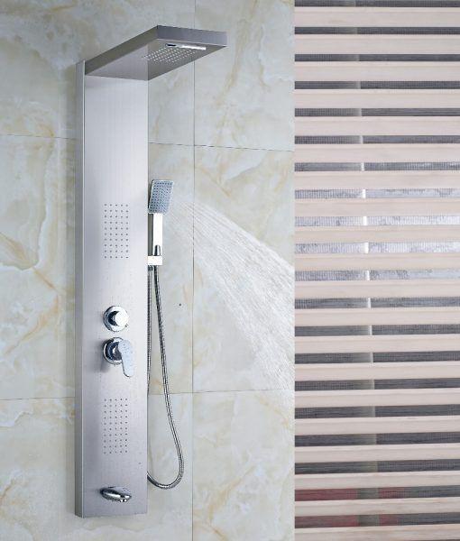 Sentinel Brushed Nickel Massage Shower Panel System With Shower