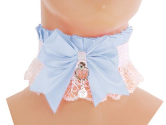 White blue satin lace Kitten Collar, Kitten Play Collar, Pet Play Collar, Choker, Kittenplay Collar BDSM, ddlg, princess lolita collar 1J3