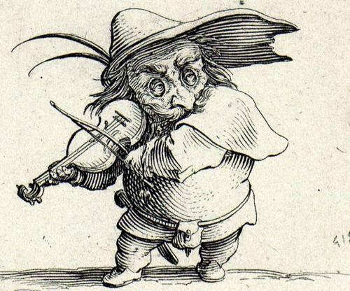 By the French artist Jacques Callot, called Le Joueur de Violon (Violin player), 1622.