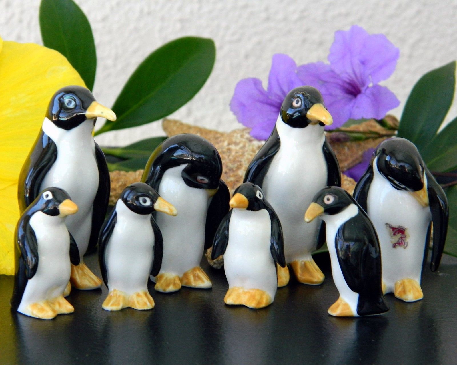 Vintage Penguin Family Two Sets Bone China Japan Black White Figurines