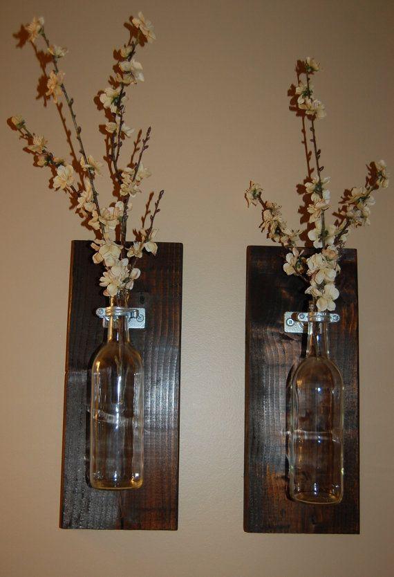 Wine Bottle Wall Art Wall Vase Handmade by BloomingHomeDesigns $23.00 & Wine Bottle Wall Art Wall Vase Handmade by BloomingHomeDesigns ...