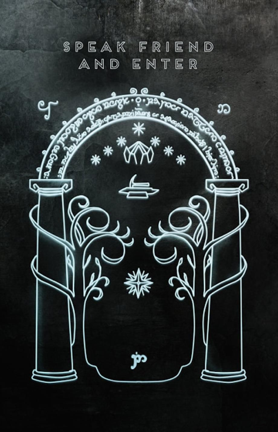 The Doors of Durin u2014 Lord of Moria. Speak friend and enter.  & Guy builds an amazing hidden u0027Lord of the Ringsu0027 themed door in his ...