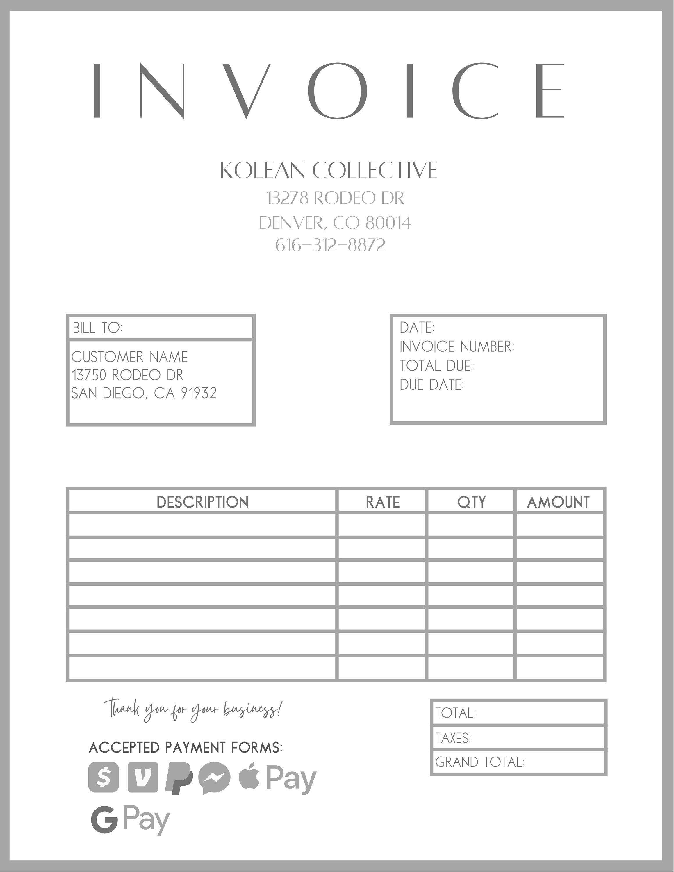 Grey Invoice Template Edit In Canva Pdf Invoice Small Etsy In 2021 Invoice Template Invoicing Small Business Finance