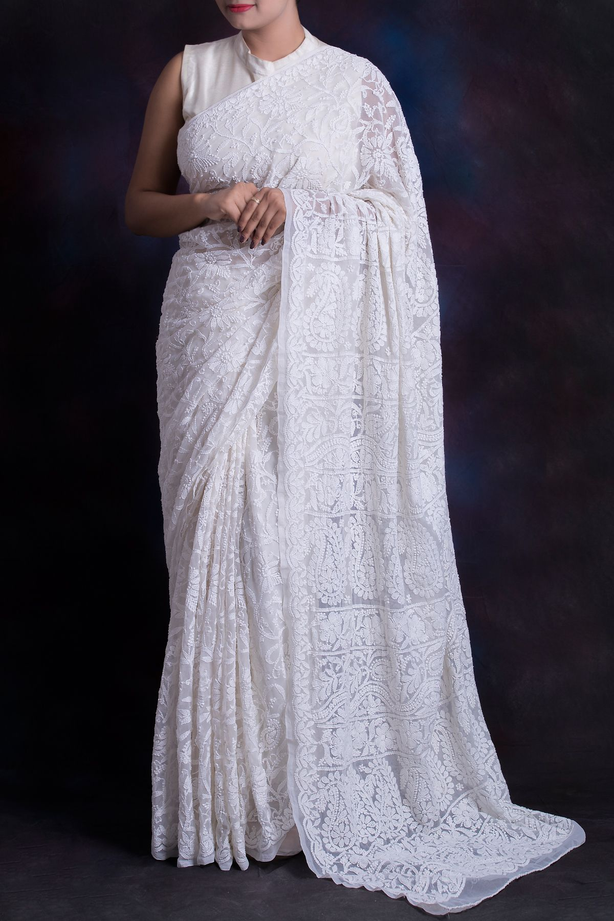 Pure White Chikankari lucknowi saree with elegant hand embroidery all over