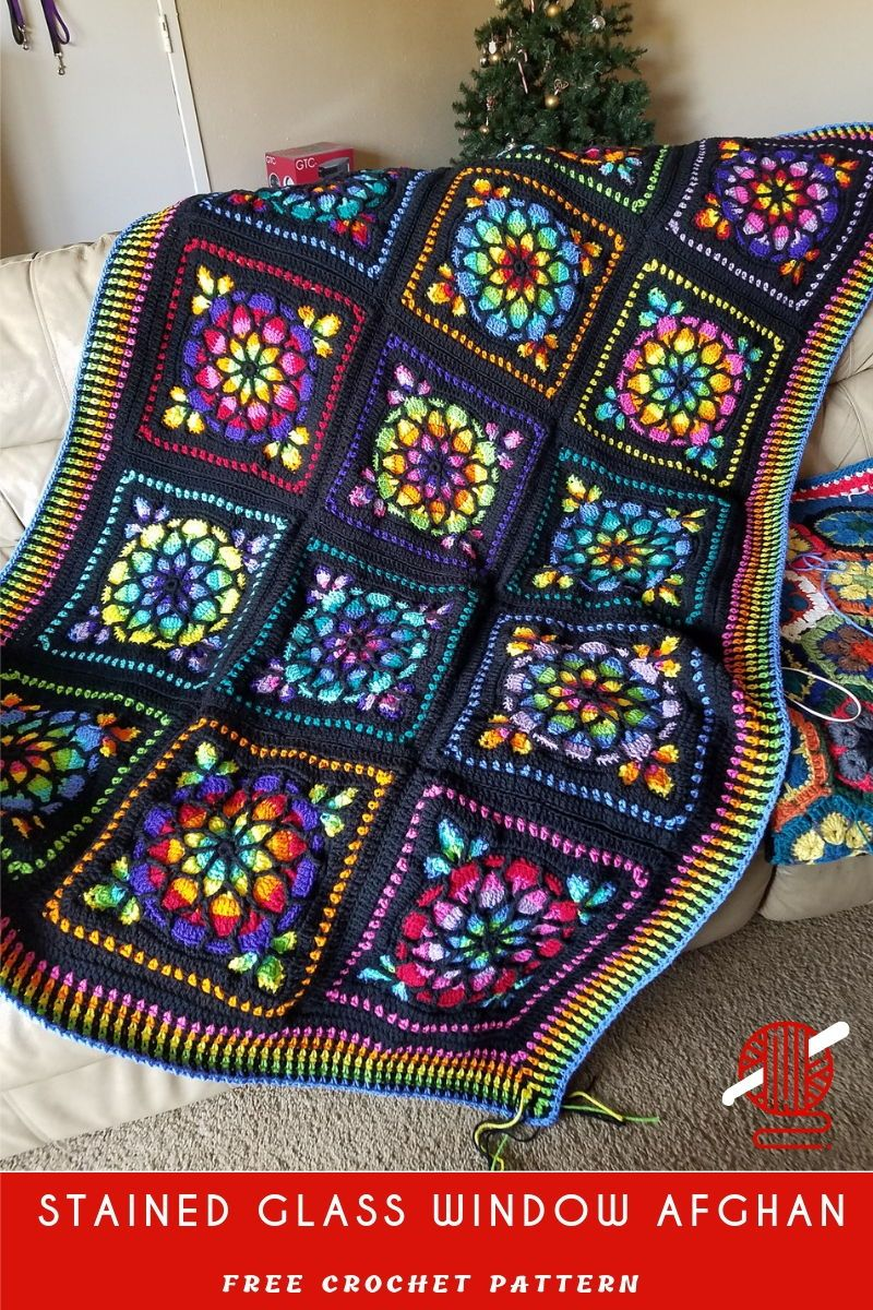 Stained Glass Afghan Crochet Square Crochet Squares Afghan