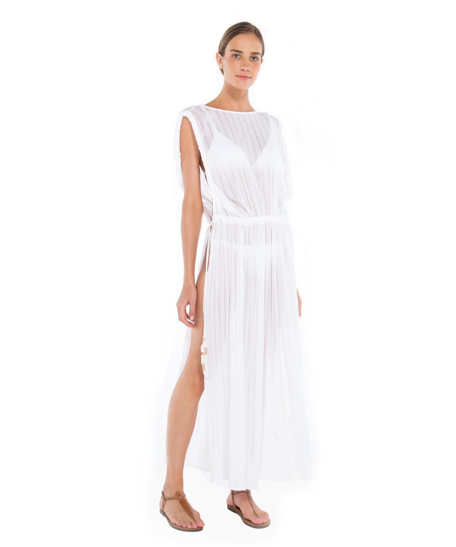 d21162ebce Channel your inner Grecian goddess in the beautiful Lisa Kaftan in White by  beachwear designer Vix available at Beach Cafe.