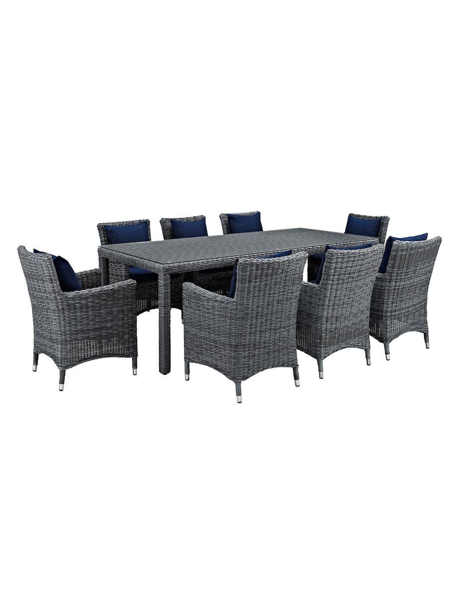 Sunbrella Patio Furniture Sets.Modway Outdoor Summon Patio Sunbrella Dining Set 9 Pc