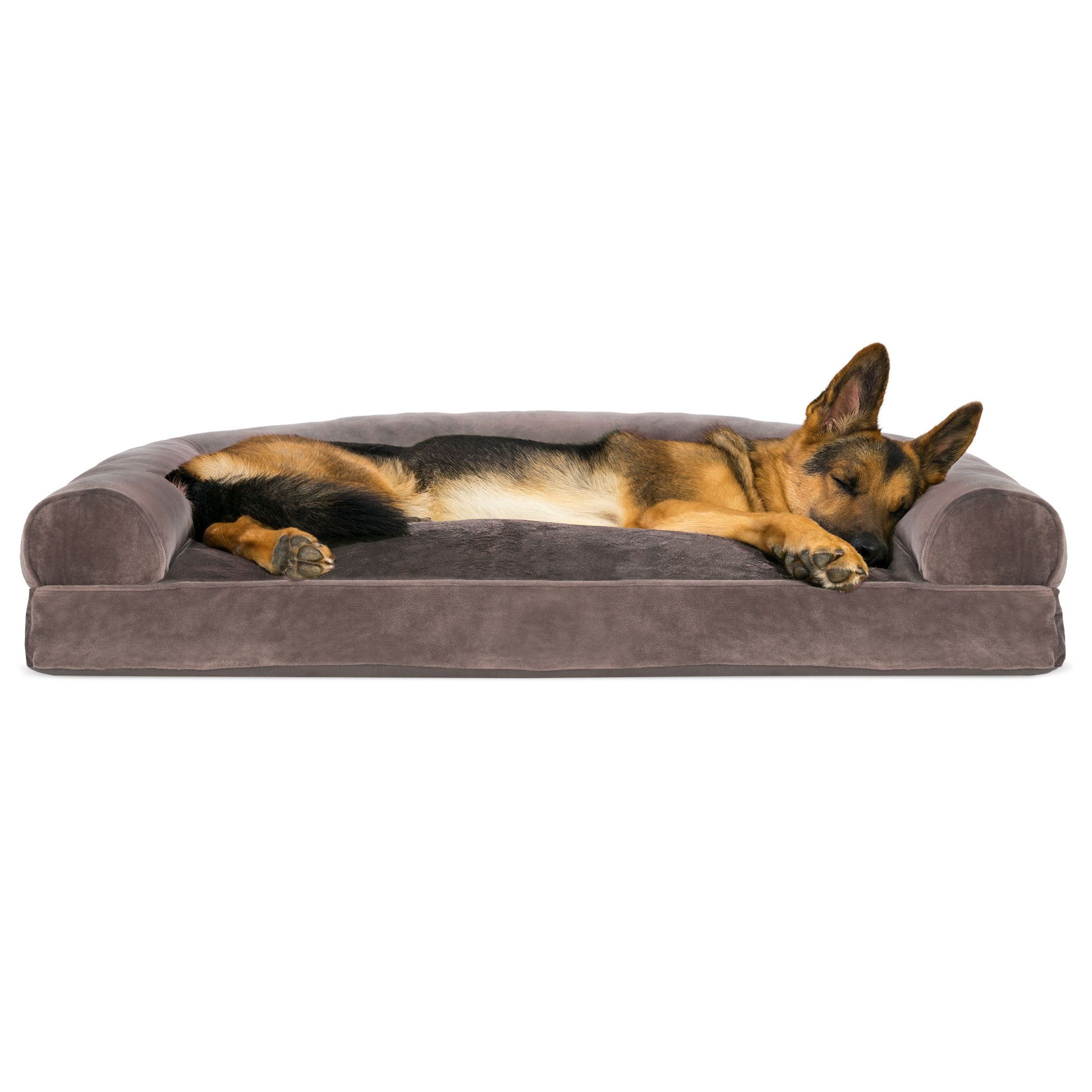 Furhaven Pet Dog Bed Faux Fur Velvet Pillow Sofa Style Couch Pet Bed For Dogs Cats Driftwood Brown Jumbo Walmart Com Dog Pet Beds Couch Pet Bed Animal Pillows