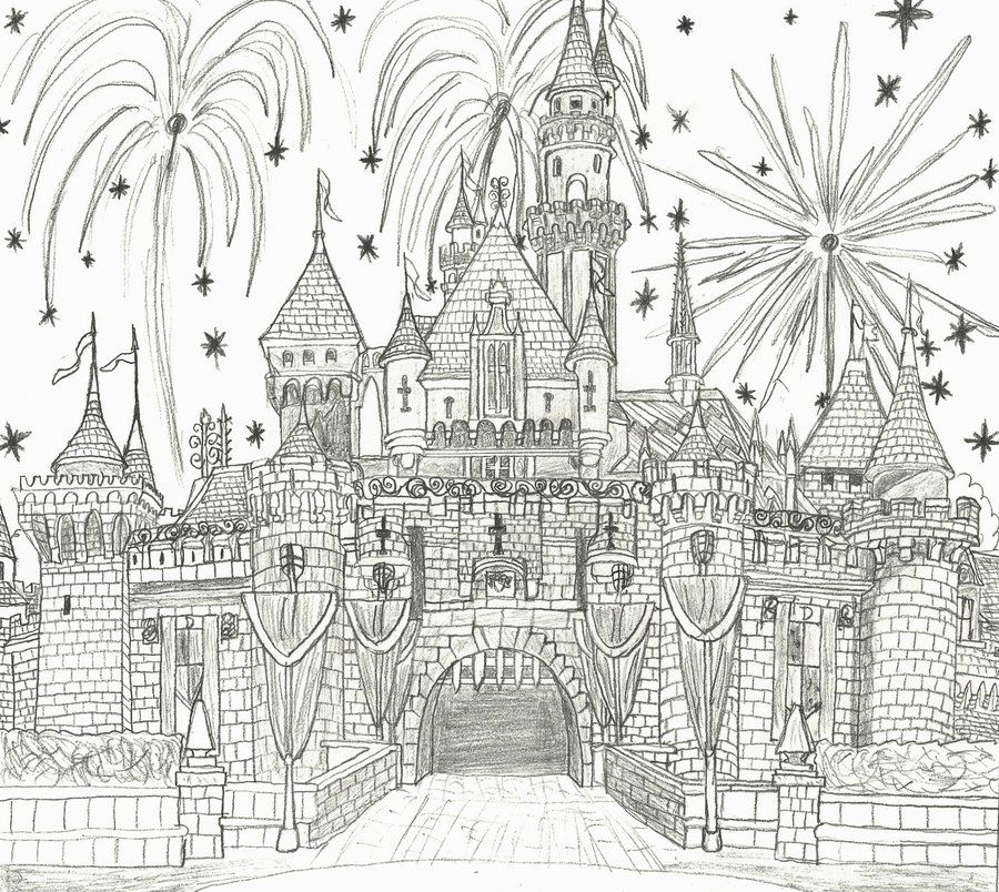 Sleeping Beauty Castle Sketch Castle Coloring Page Disney Coloring Pages Disney Colors