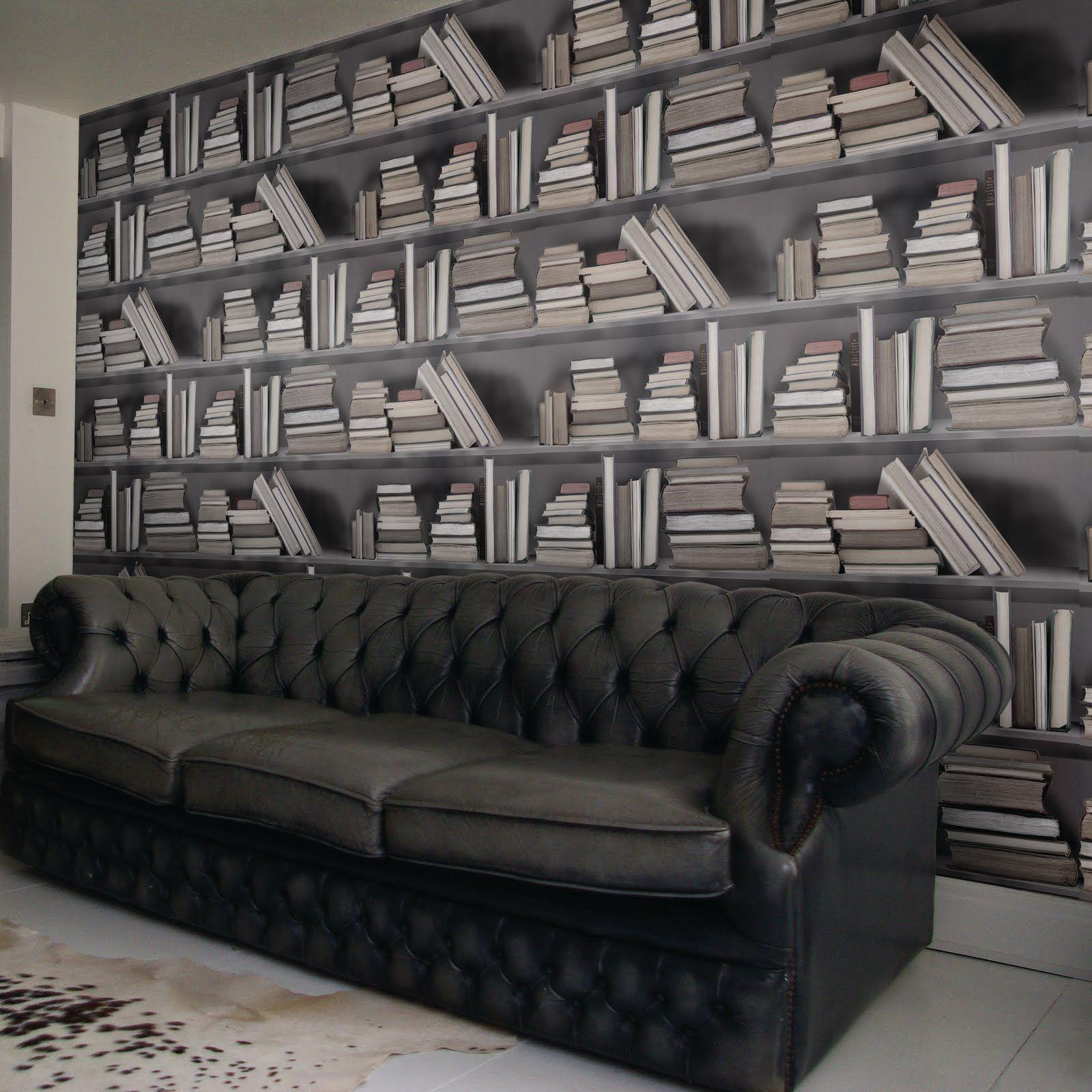 Bookshelf Wallpaper A Chesterfield Looks Like My Dream