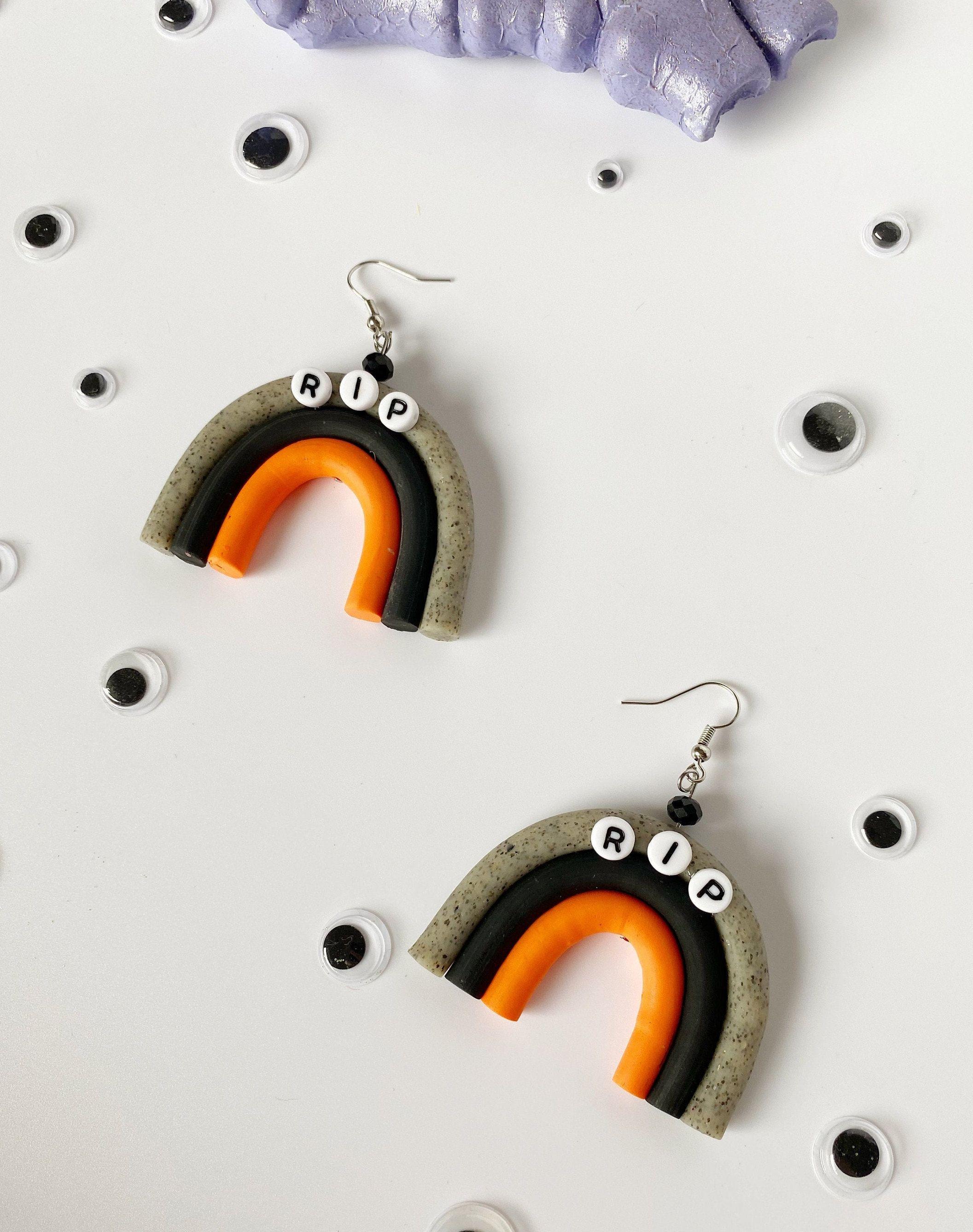 small Polymer Clay Dangle Earrings Halloween Rainbows