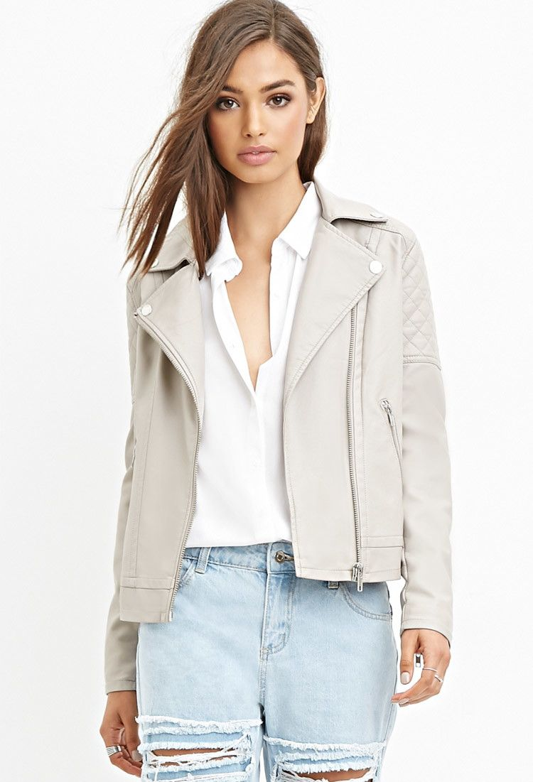 Quilted Faux Leather Jacket in taupe | Forever 21 - 2000142841 ...