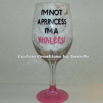 Khaleesi wine glass $15 #gameofthrones #khaleesi #princess #daenerys #daenerystargaryen #pink #dragons #wineglass #handpainted #custompainted #storenvy #forsale