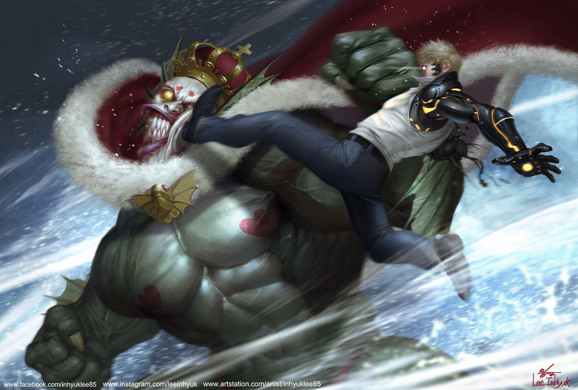 Artstation One Punch Man Deep Sea King Vs Genos Inhyuk Lee