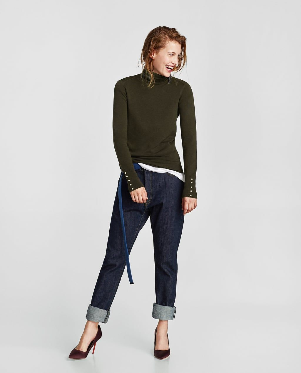 b1f79aef $29 TURTLENECK SWEATER WITH PEARL BUTTONS-Sweaters-KNITWEAR-WOMAN | ZARA  United States