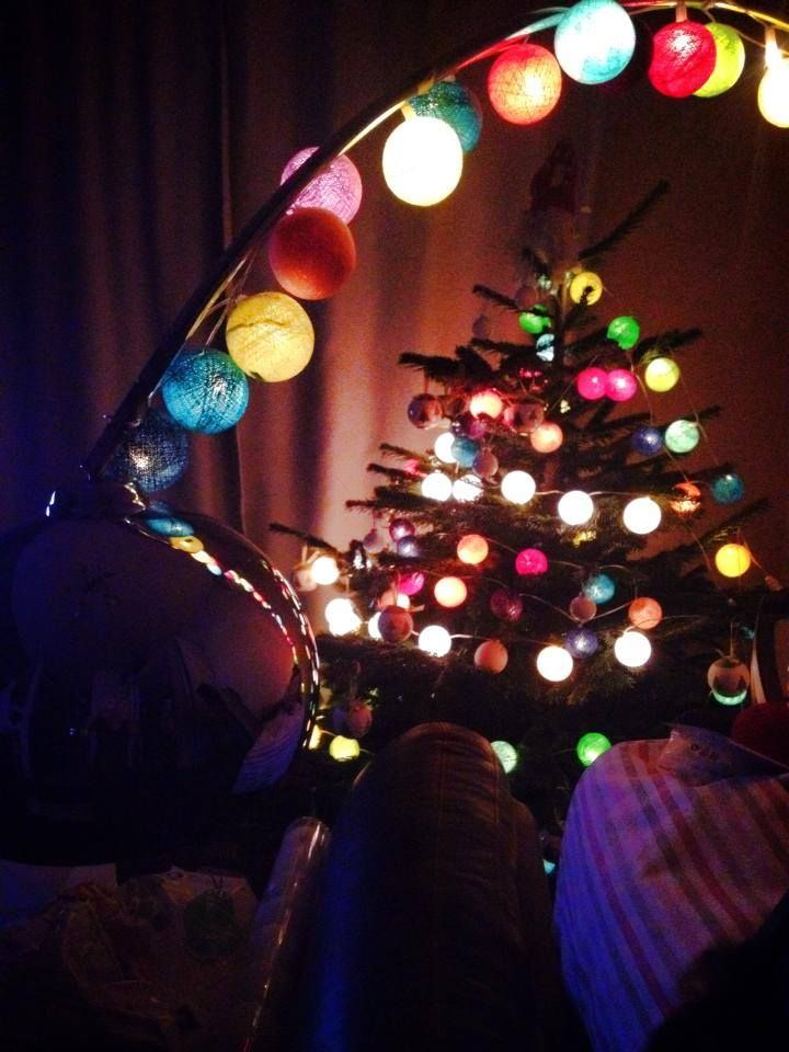 Our Christmas tree with La case de cousin Paul string lights ...