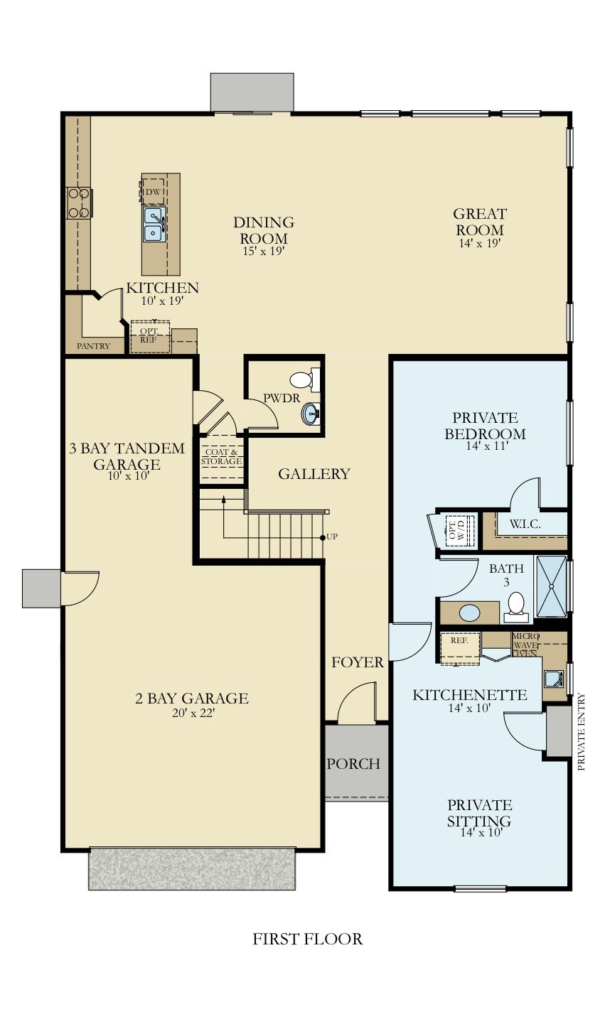 Two Story Home With Mother In Law Suite This Floorplan Includes 3 Bedrooms 2 Bathrooms And Sitting Room Area I New House Plans New Homes For Sale House Plans