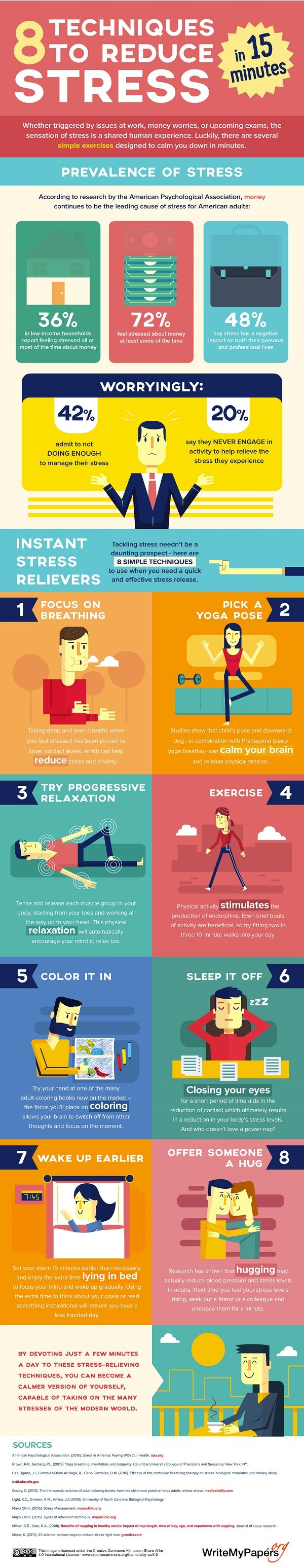 Infographic: Eight Techniques To Reduce Stress In 15 Minutes - DesignTAXI.com