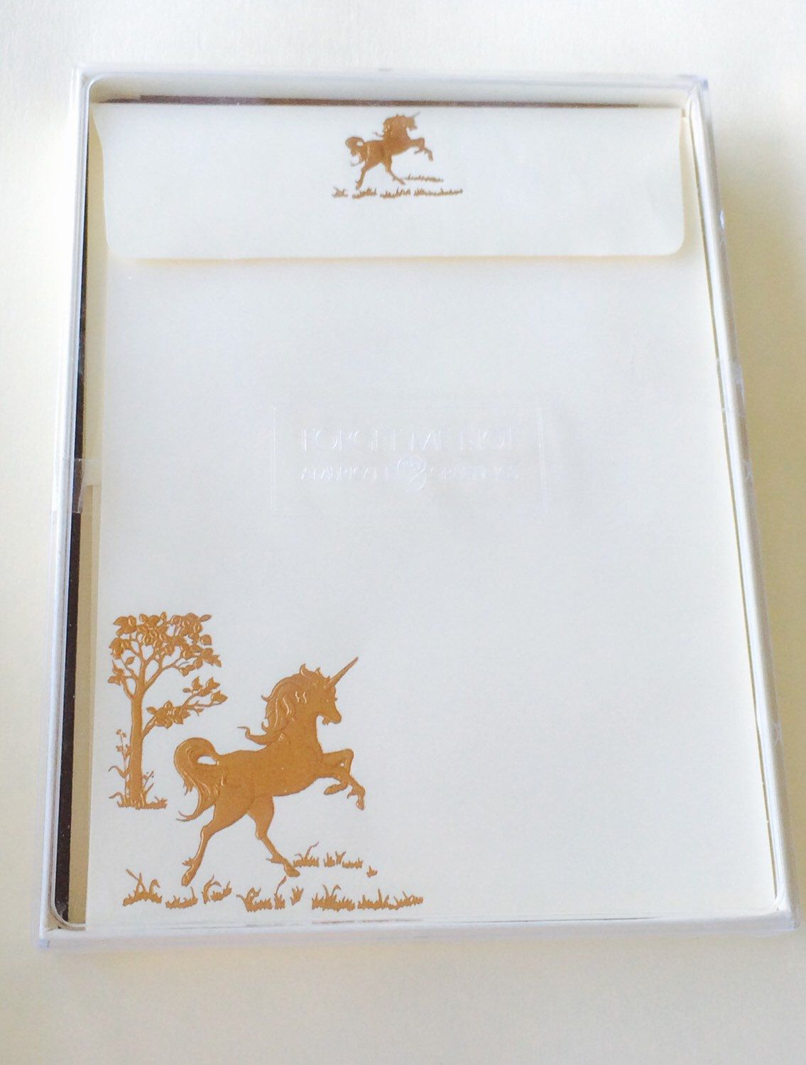 Embossed Golden Unicorn Stationery Set Vintage Out Of Print Sealed