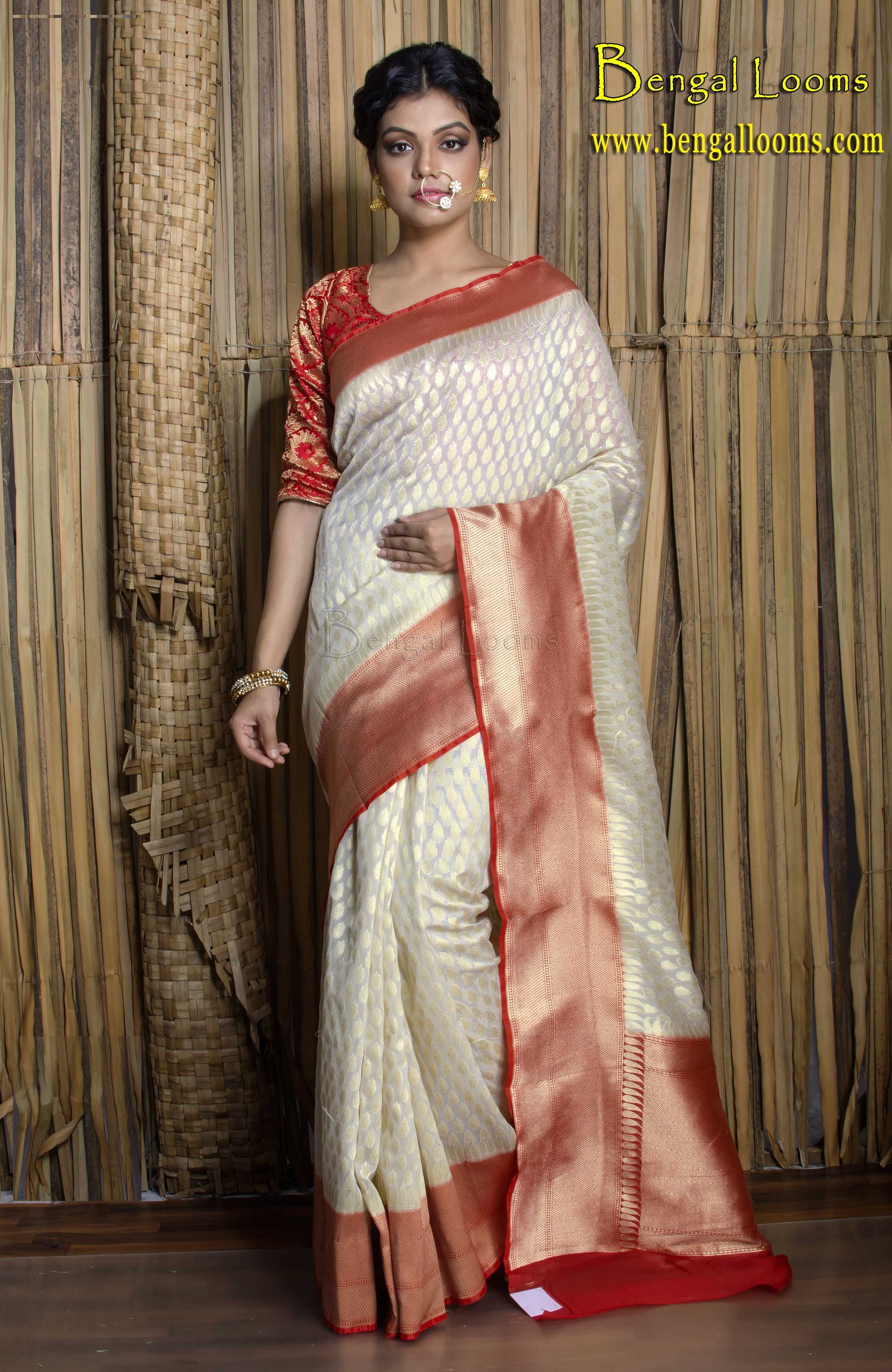 65a9cdad40 Chanderi Cotton Banarasi Saree in White and Red   Indian Banarasi ...