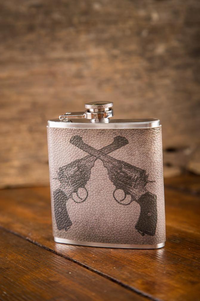 Bang! Bang! New Revolver Hip Flasks on BourbonandBoots.com