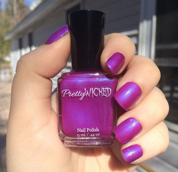 This is a pretty magenta polish with a blue cast. -Two coats to opacity.  -Top coat recommended for a glossy finish. -5 free.  -13ml or 5ml