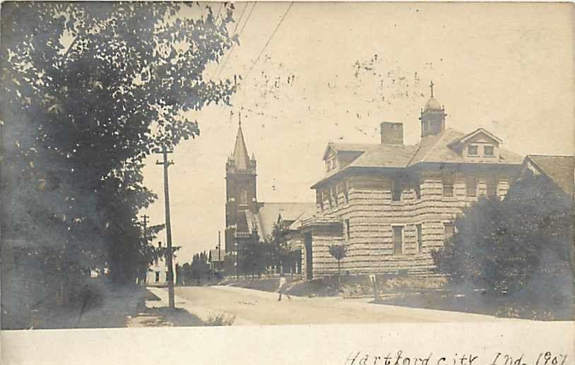 IN, Hartford City, Indiana, RPPC, Street Scene, Churches, 1907 PM   eBay