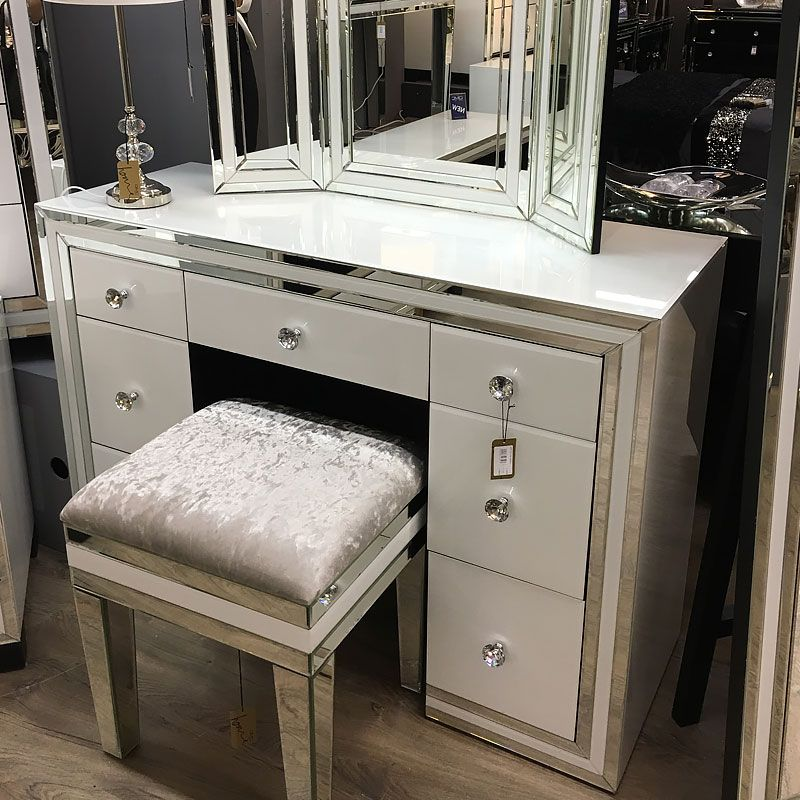 Madison White Glass 7 Drawer Mirrored Dressing Table in