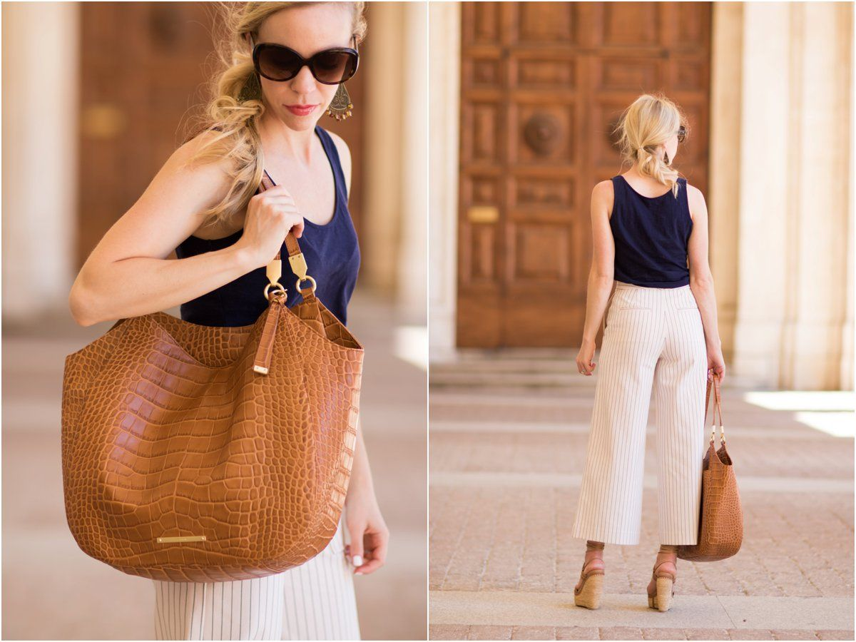 Meagan's Moda in wide-leg pants with her Thelma tote in Tan ...