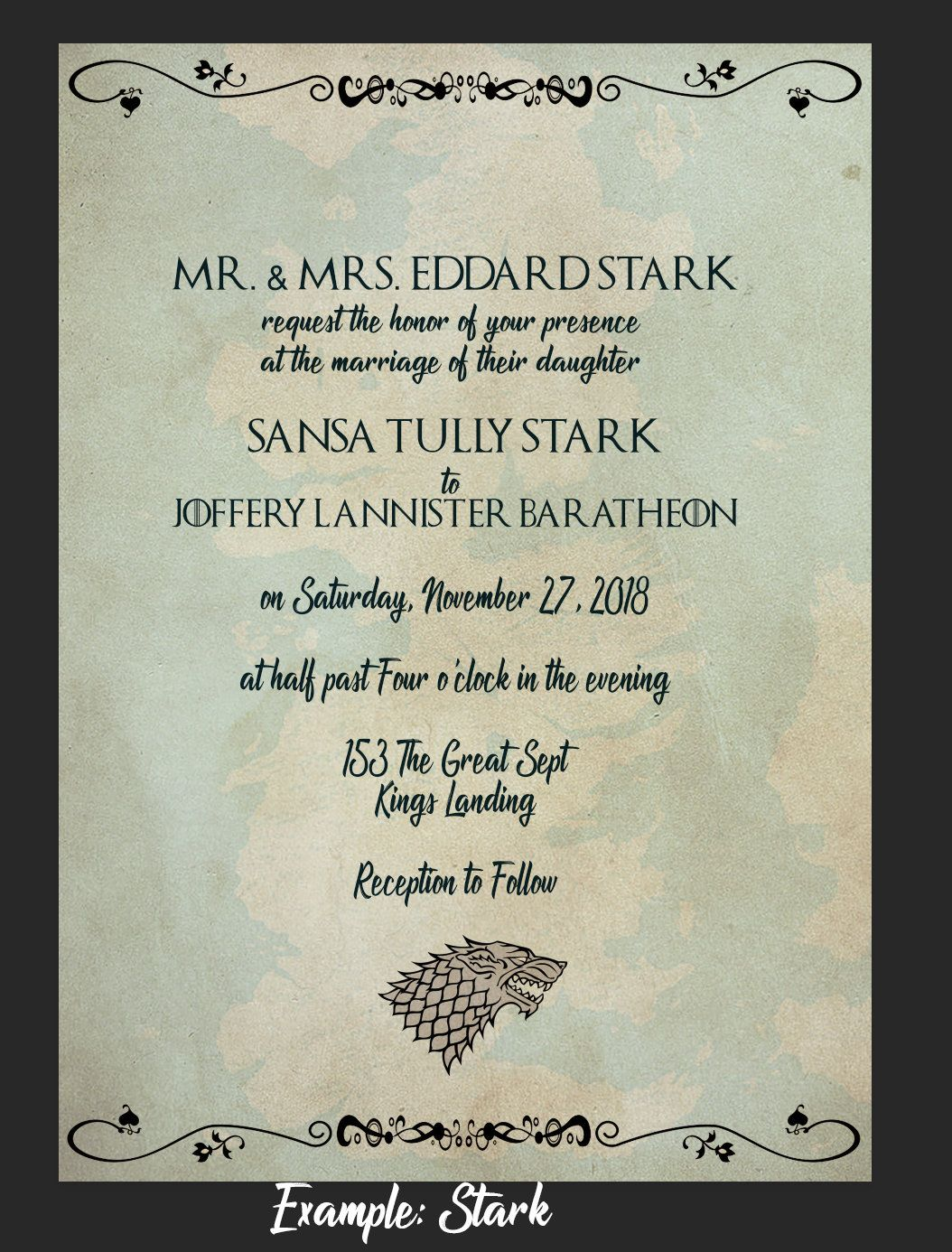 Game of Thrones Inspired Wedding Invitation Template  Etsy