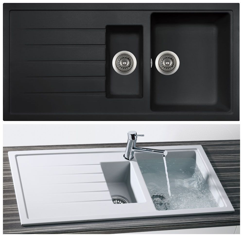 granite kitchen sinks Bluci PIAZZA 1 5 Bowl Granite Kitchen Sink in Black Granite