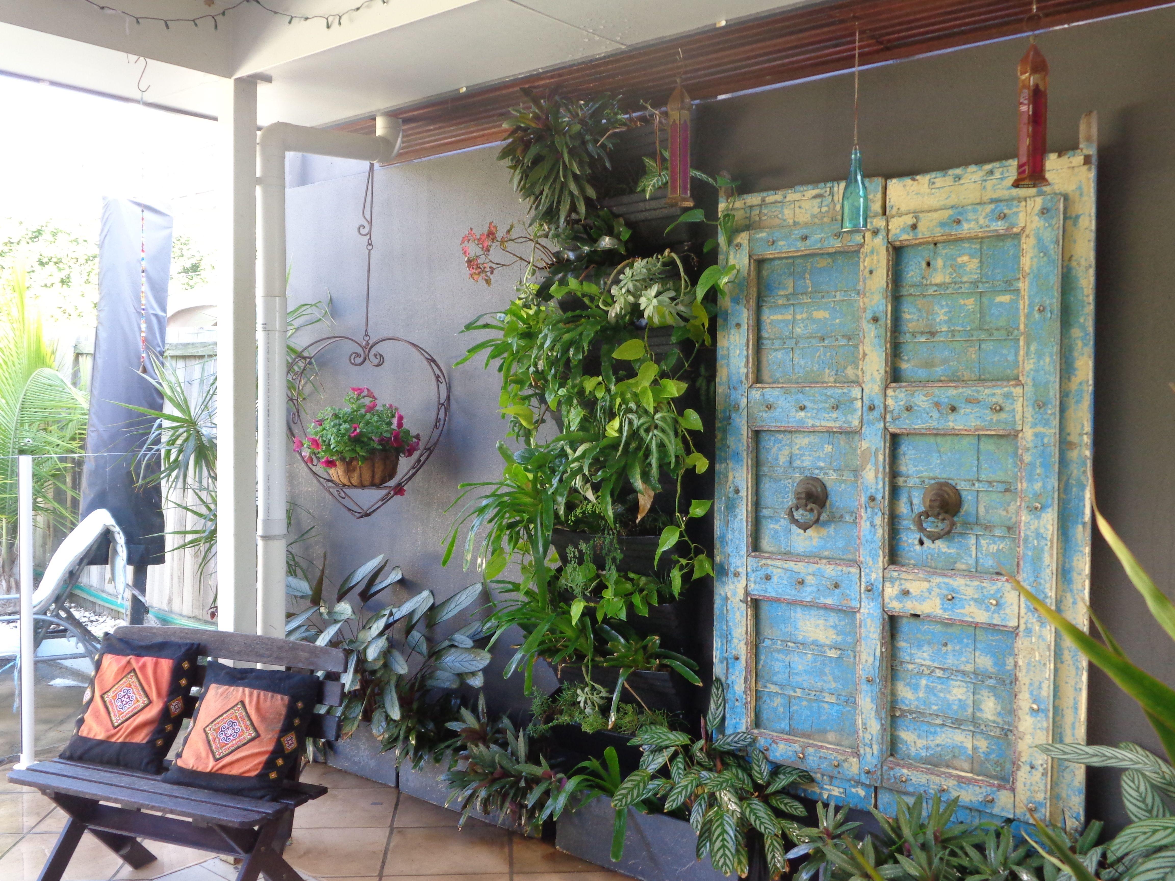 small backyard courtyard vertical garden boho ness in the