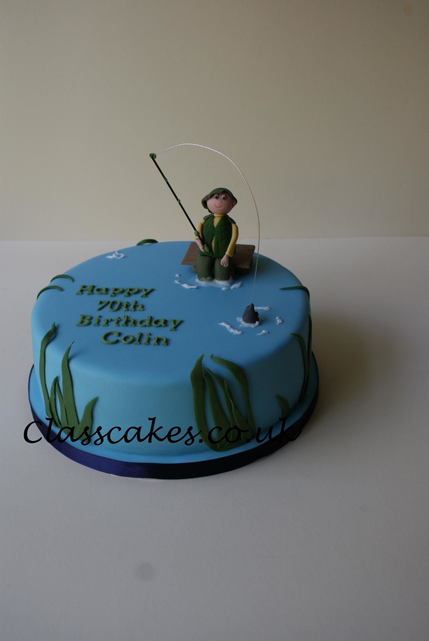 Admirable Fisherman 70Th Birthday Cake Fish Cake Birthday 70Th Birthday Funny Birthday Cards Online Elaedamsfinfo