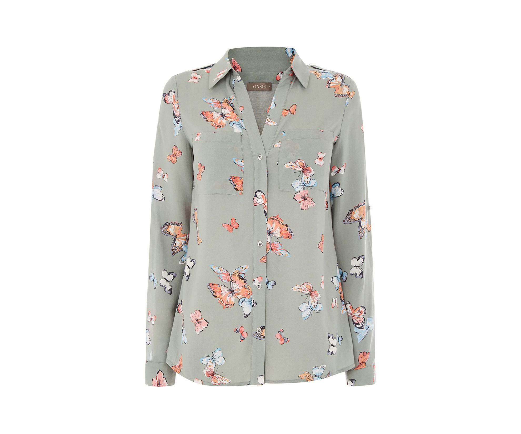 c98d2b9b9039 Oasis, CLUSTER BUTTERFLY SHIRT Khaki   My Style   Butterfly shirts ...